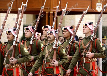 Jordan Royal Guards of Honor march during the welcome ceremony of King Abdullah II of Jordan for King Harald V and Queen Sonia of Norway at al-Husseiniya Palace in Amman, Jordan, 02 March 2020. The King and Queen of Norway arrived in Jordan on 01 March for a four-day official visit. In their first state visit to the Kingdom of Jordan, they are accompanied by a number of officials and an economic delegation.