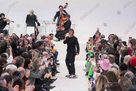 Designer Pierpaolo Piccioli on the catwalk