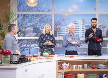 John Torode, Phillip Schofield and Holly Willoughby with Rylan Clark
