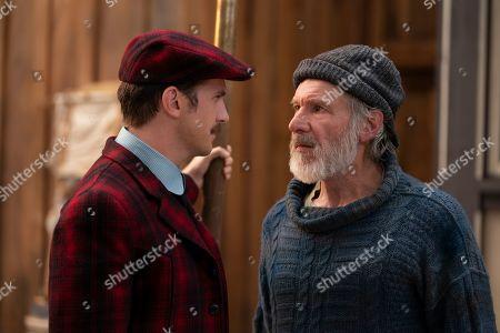 Dan Stevens as Hal and Harrison Ford as John Thornton