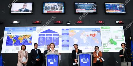 Janez Lenarcic, Stella Kyriakidou, Ylva Johansson, Adina-Ioana Valean, Paolo Gentiloni and Ursula Ursula von der Leyen at the press conference on the EU's response to COVID-19 (Corona Virus) which takes place at the EU Emergency Response Coordination Centre