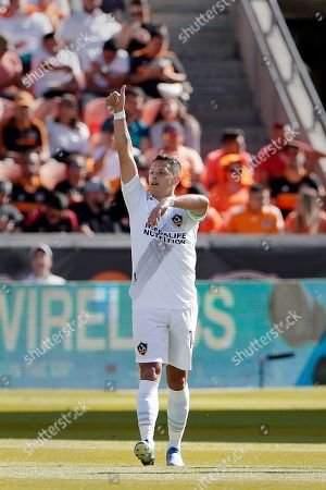 "Javier Hernandez. Los Angeles Galaxy forward Javier ""Chicharito"" Hernandez celebrates a goal during the first half of an MLS soccer match against the Houston Dynamo, in Houston"