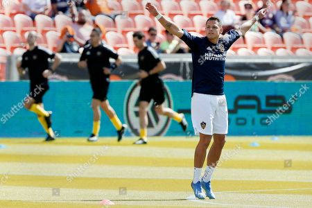 "Javier Hernandez. Los Angeles Galaxy forward Javier ""Chicharito"" Hernandez (14) during warm ups before an MLS soccer match against the Houston Dynamo, in Houston"