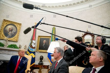 Donald Trump, Stephen Biegun, Robert O'Brien. President Donald Trump, accompanied by Colombian President Ivan Duque, takes a question from a member of the media in the Oval Office of the White House, in Washington. Also pictured is National Security Adviser Robert O'Brien, center, and Deputy Secretary of State Stephen Biegun, right