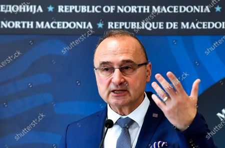 Croatian Foreign Minister Gordan Grlic Radman gestures during the joint press conference with his Macedonian counterpart Nikola Dimitrov (not on the picture) in Skopje, Republic of North Macedonia, 02 March 2020. Gordan Grlic Radman, Minister of Foreign and European Affairs of the Republic of Croatia arrive for an one-day work visit to North Macedonia.