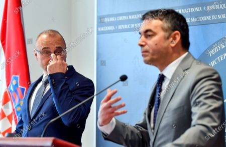 Croatian Foreign Minister Gordan Grlic Radman (L) attend the joint press conference with his Macedonian counterpart Nikola Dimitrov (R) in Skopje, Republic of North Macedonia, 02 March 2020. Gordan Grlic Radman, Minister of Foreign and European Affairs of the Republic of Croatia arrive for an one-day work visit to North Macedonia.