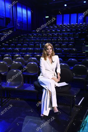 Filippa Lagerback in the television studio empty for the absence of the public following the measures taken by the Lombardy Region to contain the epidemic of the new coronavirus COVID-19
