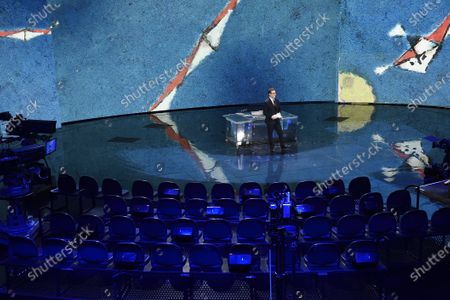 Stock Image of Fabio Fazio in the television studio empty for the absence of the public following the measures taken by the Lombardy Region to contain the epidemic of the new coronavirus COVID-19