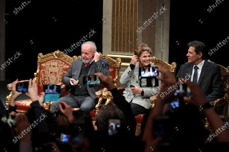 (L-R) Former Brazilian President Luis Inacio Lula da Silva, Former Brazilian president Dilma Rousseff and former presidential candidate of the Workers' Party, Fernando Haddad attend an award ceremony for Lula da Silva to receive his diploma as Honorary Citizen at  at the City Hall of Paris, France, 02 March 2020. On 03 October 2019, Luiz Inacio Lula da Silva received the title of Honorary Citizen of Paris City Hall.