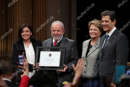 (L-R) Paris Mayor Anne Hidalgo, Former Brazilian President Luis Inacio Lula da Silva, Former Brazilian president Dilma Rousseff and former presidential candidate of the Workers' Party, Fernando Haddad pose for photographs after Lula da Silva received his diploma as Honorary Citizen at an award ceremony at the City Hall of Paris, France, 02 March 2020. On 03 October 2019, Luiz Inacio Lula da Silva received the title of Honorary Citizen of Paris City Hall.