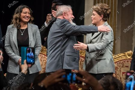 (L-R) Former Brazilian President Luis Inacio Lula da Silva greets with Former President Dilma Rousseff during the ceremony where Lula da Silva received his diploma as Honorary Citizen at the City Hall of Paris, France, 02 March 2020. On 03 October 2019, Luiz Inacio Lula da Silva received the title of Honorary Citizen of Paris City Hall.