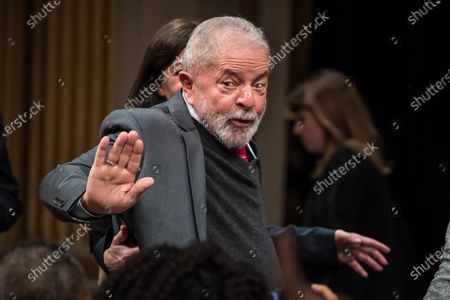 Former Brazilian President Luis Inacio Lula da Silva waves to the public during the ceremony where Lula da Silva received his diploma as Honorary Citizen at the City Hall of Paris, France, 02 March 2020. On 03 October 2019, Luiz Inacio Lula da Silva received the title of Honorary Citizen of Paris City Hall.
