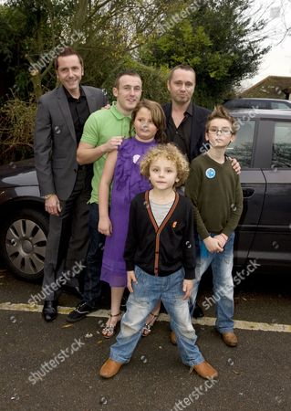 Tony and Barrie Drewitt-Barlow with their ten-year-old twins Aspen and Saffron, son Orlando and Barrie's son Colin