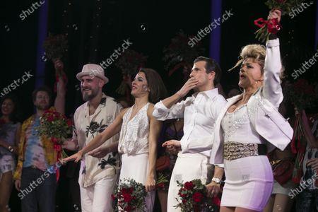 Bob Harms (Happy Man/Mr Thompson), Aimie Atkinson (Vivian Ward), Danny Mac (Edward Lewis) and Rachael Wooding (Kit De Luca) during the curtain call