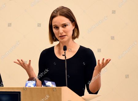 Stock Image of Natalie Portman speaks at the launch of the Fifth Annual Make March Matter fundraising campaign for Children's Hospital Los Angeles, in Los Angeles