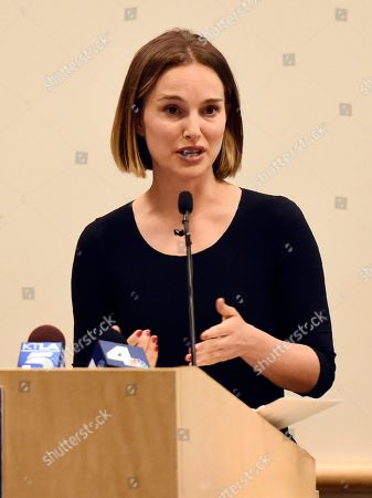 Natalie Portman speaks at the launch of the Fifth Annual Make March Matter fundraising campaign for Children's Hospital Los Angeles, in Los Angeles