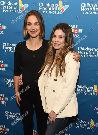 Stock Picture of Natalie Portman, Danielle Fishel Karp. Actress Natalie Portman, left, and actress/Children's Hospital Los Angeles patient parent Danielle Fishel Karp pose together at the launch of the Fifth Annual Make March Matter fundraising campaign for the hospital, in Los Angeles