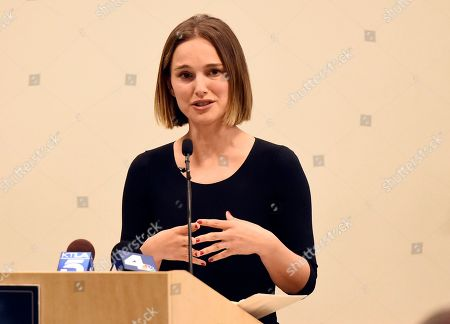 Stock Photo of Natalie Portman addresses the audience at the launch of the Fifth Annual Make March Matter fundraising campaign for Children's Hospital Los Angeles, in Los Angeles