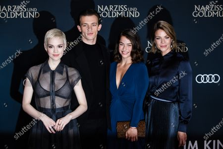 Stock Photo of Emilia Schuele, Jannis Niewoehner, Henriette Confurius and Jessica Schwarz attend the premiere of 'Narziss und Goldmund' (Narcissus and Goldmund) in Berlin, Germany, 02 March 2020. The movie based on the book of German-Swiss writer Hermann Hesse will be released in German theatres on 12 March 2020.