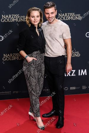 Sonja Gerhardt (L) and German actor Jannik Schuemann attend the premiere of 'Narziss und Goldmund' (Narcissus and Goldmund) in Berlin, Germany, 02 March 2020. The movie based on the book of German-Swiss writer Hermann Hesse will be released in German theatres on 12 March 2020.