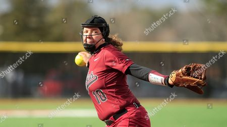Stock Photo of NC Central's Caroline Campbell (10) pitches during an NCAA college softball game against Gardner-Webb, in Boiling Springs, N.C