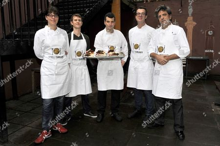 (L to R) Chefs Anna Hansen, Jeremy Bloor, Jeremy Lee, Jacob Kennedy and Giorgio Locatelli