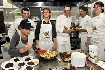 (L to R) Chefs Jeremy Lee, Jeremy Bloor, Jacob Kennedy and Giorgio Locatelli and Anna Hansen