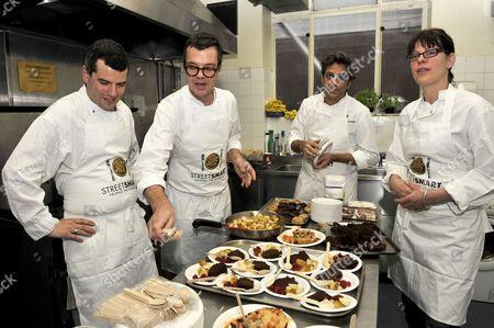 (L to R) Chefs Jeremy Lee, Jacob Kennedy, Giorgio Locatelli and Anna Hansen,