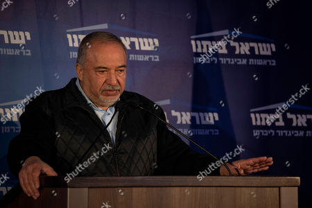 Stock Picture of The leader of the Yisrael Beiteinu speak party Avigdor Lieberman, during a press conference in after Israeli elections in the city of Modiin