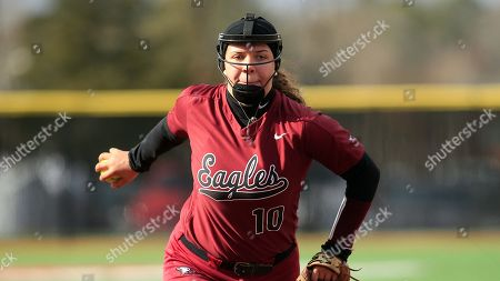 NC Central's Caroline Campbell (10) pitches during an NCAA college softball game against Gardner-Webb, in Boiling Springs, N.C