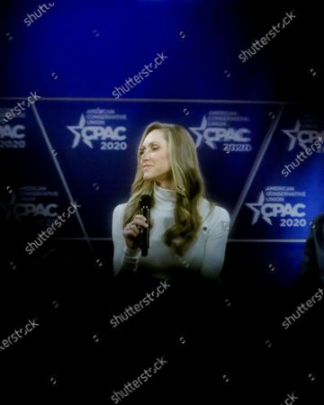 Lara Yunaska Trump, campaign adviser to President Trump. and wife of Eric Trump, pauses while speaking during a discussion at the Conservative Political Action Conference (CPAC) in National Harbor, Maryland, U.S.,. President Trump will address this years CPAC after dealing with the coronavirus and how the U.S. plans to stop it from spreading.