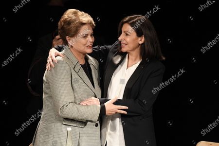 Former Brazilian president Dilma Rousseff is welcomed on stage by Incumbent mayor of Paris Anne Hidalgo during a campaign rally in Paris, France, 02 March 2020. The first round of the mayoral elections will be held 15 March and the final round 22 March 2020.