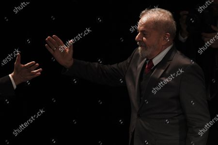 Former Brazilian President Luis Inacio Lula da Silva arrives on stage during a campaign rally of Paris Mayor Anne Hidalgo in Paris, France, 02 March 2020. The first round of the mayoral elections will be held 15 March and the final round 22 March 2020.