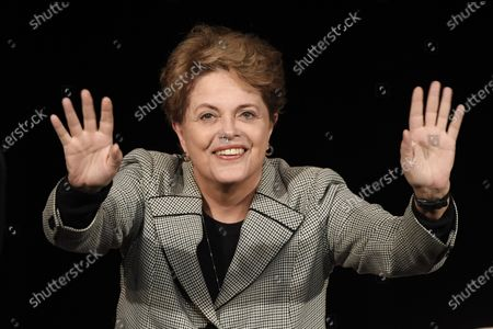 Former Brazilian president Dilma Rousseff gestures during a campaign rally of Paris Mayor Anne Hidalgo in Paris, France, 02 March 2020. The first round of the mayoral elections will be held 15 March and the final round 22 March 2020.