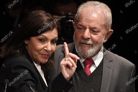 Former Brazilian President Luis Inacio Lula da Silva is welcomed on stage by incumbent mayor of Paris Anne Hidalgo during a campaign rally of Paris Mayor Anne Hidalgo in Paris, France, 02 March 2020. The first round of the mayoral elections will be held 15 March and the final round 22 March 2020.