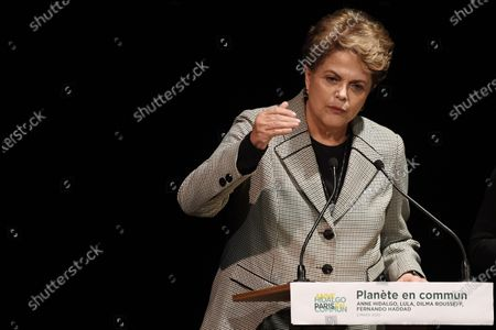 Former Brazilian president Dilma Rousseff speaks during a campaign rally of Paris Mayor Anne Hidalgo  in Paris, France, 02 March 2020. The first round of the mayoral elections will be held 15 March and the final round 22 March 2020.