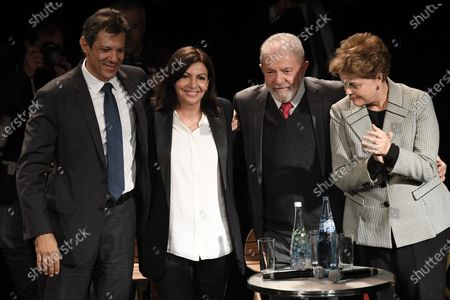 (L-R) Former Brazilian presidential candidate of the Workers' Party, Fernando Haddad, incumbent mayor of Paris Anne Hidalgo, Former Brazilian President Luis Inacio Lula da Silva and Former Brazilian president Dilma Rousseff attend during a campaign rally in Paris, France, 02 March 2020. The first round of the mayoral elections will be held 15 March and the final round 22 March 2020.