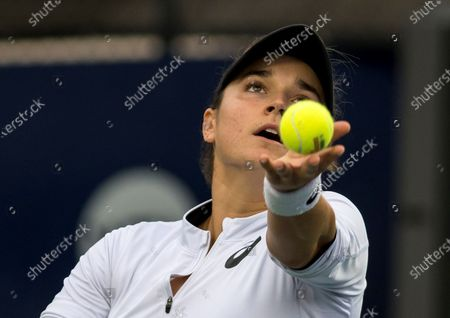 Caroline Dolehide of USA in action against Olga Govortsova of Belarus during a match on day one of the Monterrey Open tennis tournament in Monterrey, Mexico, 02 March 2020.