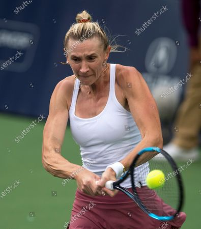 Olga Govortsova of Belarus in action against Caroline Dolehide of USA during a match on day one of the Monterrey Open tennis tournament in Monterrey, Mexico, 02 March 2020.