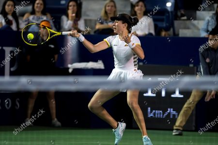 Johanna Konta of Britain in action against Kim Clijsters of Belgium during the women's singles match at the Monterrey Open tennis tournament in Monterrey, Mexico, 03 March 2020.
