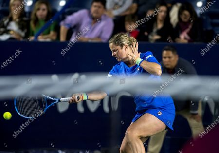 Kim Clijsters of Belgium in action against Johanna Konta of Britain during the women's singles match at the Monterrey Open tennis tournament in Monterrey, Mexico, 03 March 2020.