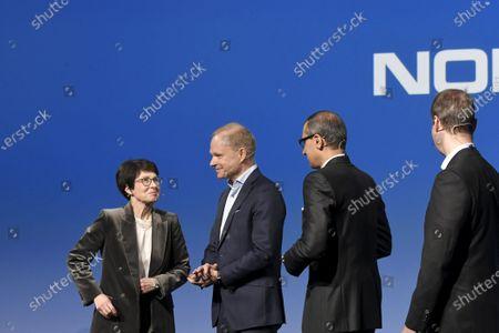 Stock Picture of Nokia Vice Chairman Sari Baldauf, new President and CEO Pekka Lundmark, resigning President and CEO Rajeev Suri and Chairman of the Board Risto Siilasmaa