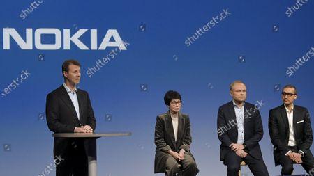 Nokia Chairman of the Board Risto Siilasmaa, Vice Chairman Sari Baldauf, new President and CEO Pekka Lundmark and resigning President and CEO Rajeev Suri