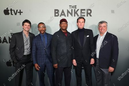 "Stock Photo of Jamie Erlicht, Head of Worldwide Video, Apple, Anthony Mackie, Samuel L. Jackson, Zack Van Amburg, Head of Worldwide Video, Apple, and Eddy Cue, Senior Vice President of Internet Software and Services, Apple, attend Apple's ""The Banker"" premiere at The National Civil Rights Museum. ""The Banker"" opens in select theaters on March 6, before premiering globally on Apple TV+ on March 20."