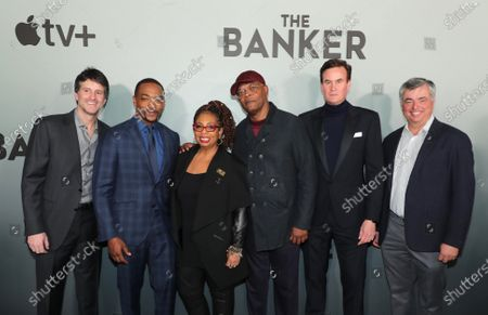 """Stock Picture of Jamie Erlicht, Head of Worldwide Video, Apple, Anthony Mackie, Faith Morris, Chief Marketing and External Affairs Officer, National Civil Rights Museum, Samuel L. Jackson, Zack Van Amburg, Head of Worldwide Video, Apple, and Eddy Cue, Senior Vice President of Internet Software and Services, Apple, attend Apple's """"The Banker"""" premiere at The National Civil Rights Museum. """"The Banker"""" opens in select theaters on March 6, before premiering globally on Apple TV+ on March 20."""