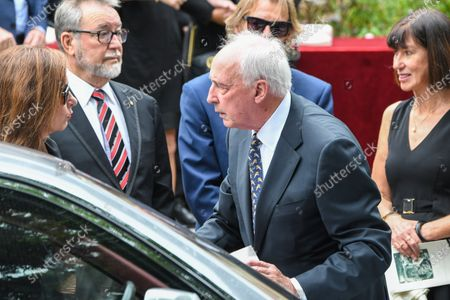 Former Australian Prime Minister Paul Keating (C) farewells John Laws after the funeral service for Caroline Laws at St Mark's Church in Sydney, Australia, 03 March 2020.