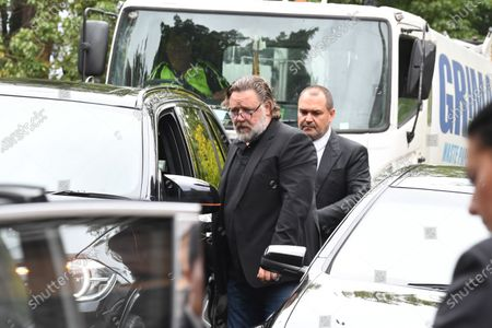 New Zealand actor Russell Crowe (L) attends the funeral service for Caroline Laws at St Mark's Church in Sydney, Australia, 03 March 2020.