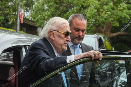 Former radio host John Laws (L) during the funeral service for Caroline Laws at St Mark's Church in Sydney, Australia, 03 March 2020.
