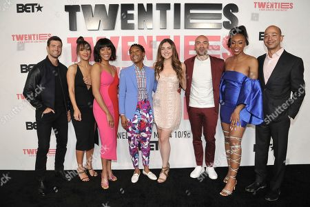 """Stock Picture of Parker Young, Sophina Brown, Christina Elmore, Jonica 'JoJo' T. Gibbs, Madeleine Byrne, Jevon McFerrin, Gabrielle Graham, Sc. Parker Young, from left, Sophina Brown, Christina Elmore, Jonica 'JoJo' T. Gibbs, Madeleine Byrne, Jevon McFerrin, Gabrielle Graham and Sc attend the LA premiere of """"Twenties"""" at Paramount Pictures Studio, in Los Angeles"""