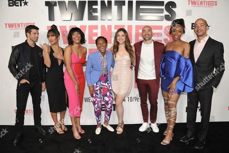 """Stock Photo of Parker Young, Sophina Brown, Christina Elmore, Jonica 'JoJo' T. Gibbs, Madeleine Byrne, Jevon McFerrin, Gabrielle Graham, Sc. Parker Young, from left, Sophina Brown, Christina Elmore, Jonica 'JoJo' T. Gibbs, Madeleine Byrne, Jevon McFerrin, Gabrielle Graham and Sc attend the LA premiere of """"Twenties"""" at Paramount Pictures Studio, in Los Angeles"""